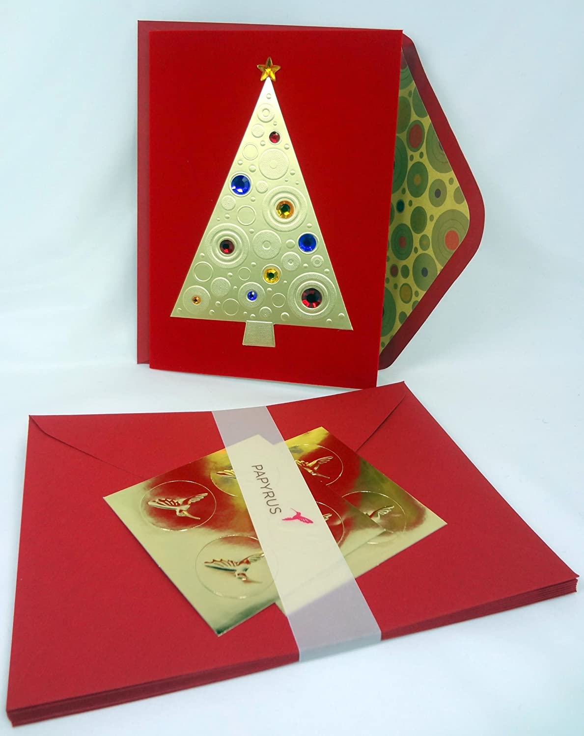 Papyrus Christmas Premium Holiday Cards Featuring Gold Tree Jeweled ...