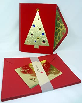 papyrus christmas premium holiday cards featuring gold tree jeweled with rhinestones boxed set of 8 greeting