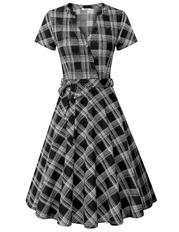 Black Square Plaid Diphi LiLi Women's V Neck Long Short Sleeve Button Decoration Plaid Swing Dress