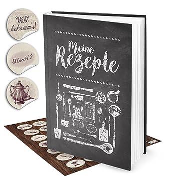 Geschenk Set Xxl Rezeptbuch Zum Selberschreiben Tafel Kreide Look