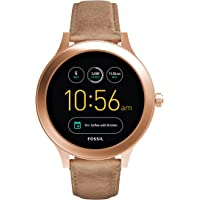 Fossil Women's Gen 3 Venture Stainless Steel and Leather Touchscreen Smartwatch, Color: Rose Gold, Tan (Model: FTW6005)