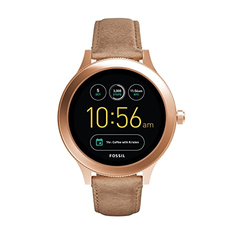 Fossil Q Women's Gen 3 Venture Stainless Steel And Leather Smartwatch, Color: Rose Gold-Tone, Tan (Model: FTW6005)