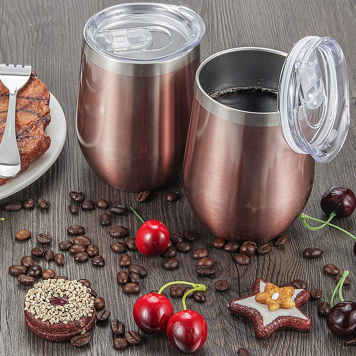 Fungun 6 pack 12 oz Stainless Steel Stemless Wine Glass Tumbler Double Wall Vacuum Insulated Wine Tumbler with Slip Lids Set of 6 for Coffee, Wine, Cocktails, Ice Cream Including 6 Straws(Rose Gold) by Fungun (Image #7)