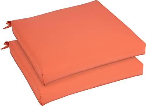 Mozaic AZCS2985 Indoor or Outdoor Sunbrella Square Chair Seat Cushions Set, Set of 2, 19 inches, Canvas Melon Coral Orange