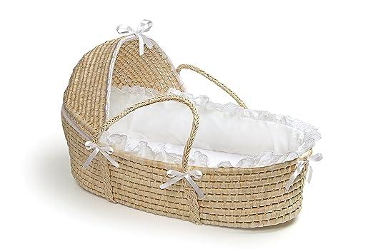 Badger Basket Hooded Moses Basket - Natural with White Bedding