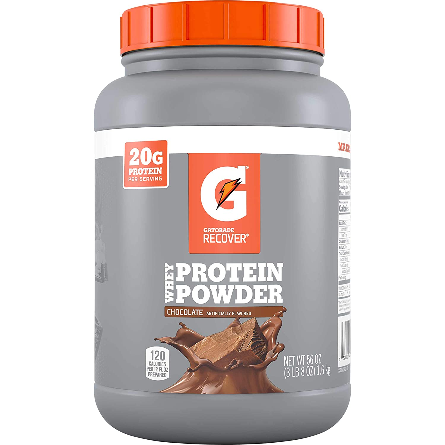Gatorade Whey Protein Powder, Chocolate, 56 oz Canister 50 servings per canister, 20 grams of protein per serving