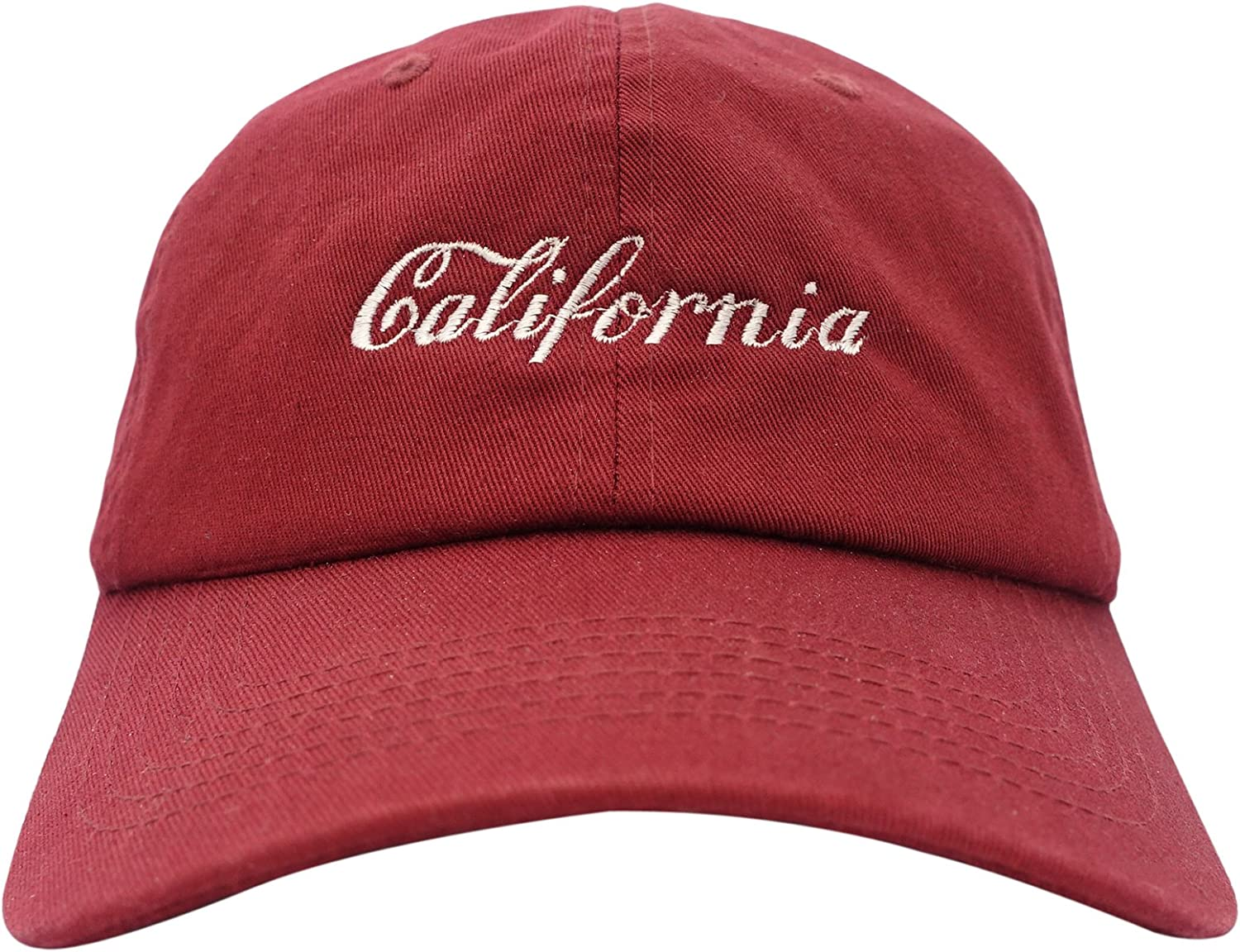 California Unstructured Six Panel Adjustable Dad Hat 100/% Cotton