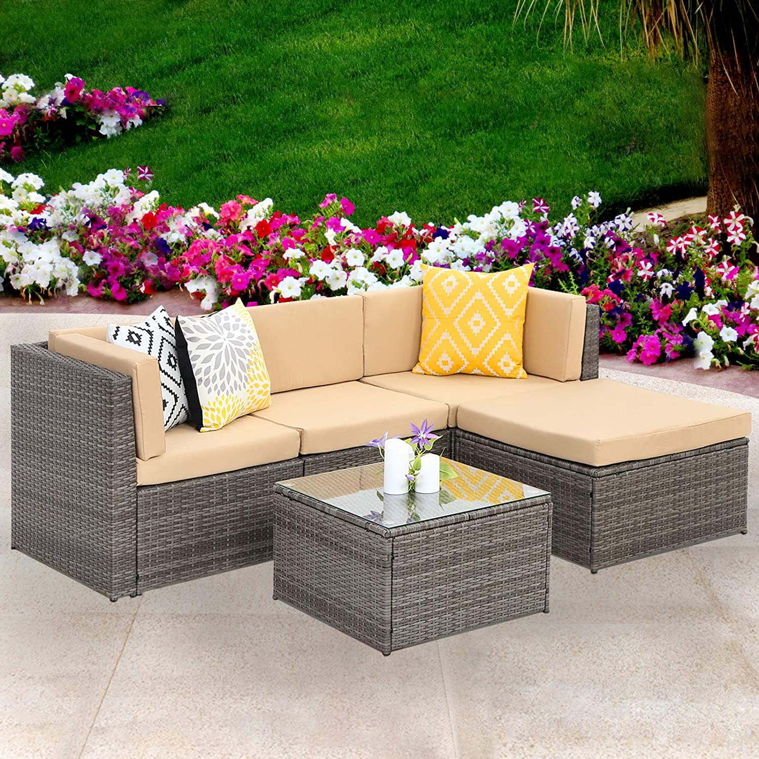 Amazon com wisteria lane outdoor sectional patio furniture 5 piece wicker rattan sofa couch with ottoma conversation set gray wicker beige cushions