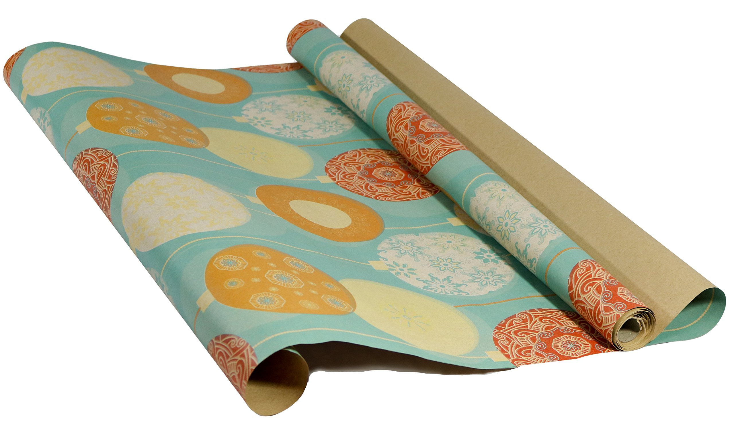 Printed Christmas Kraft Wrapping Paper Set (Reindeer-Bulbs-Trees on Brown Kraft)