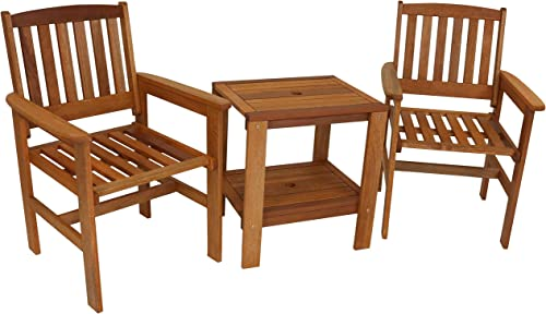 Sunnydaze Meranti Wood 3-Piece Outdoor Patio Conversation Set