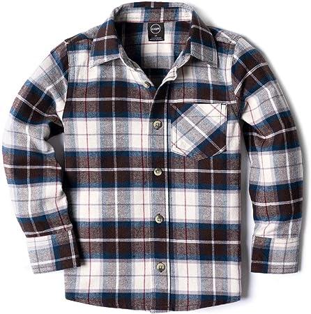 CQR Camisa de Franela de Manga Larga con Botones a Cuadros, de algodón Cepillado, para niños