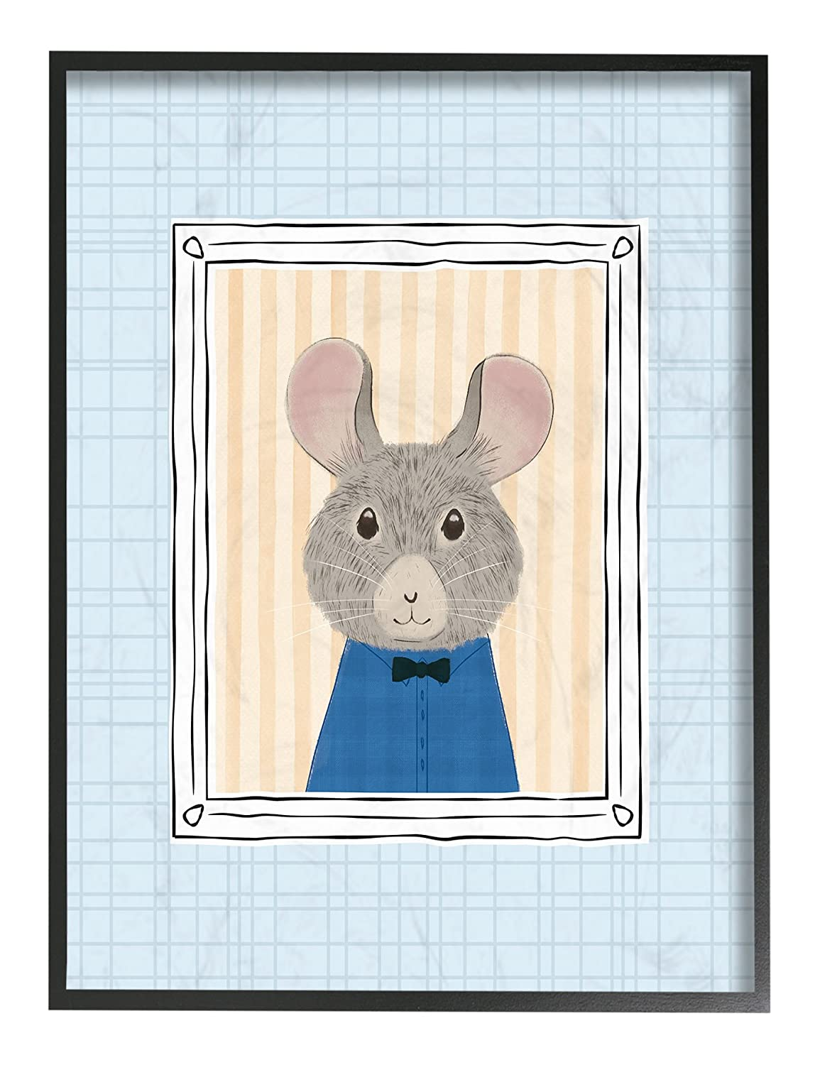 Multicolor The Stupell Home Decor Collection Mouse Portrait Blue Stretched Canvas Wall Art