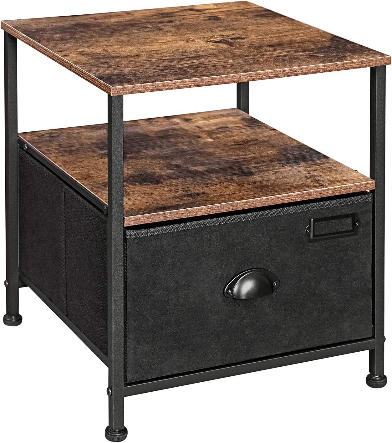 SONGMICS Nightstand, 3-Tier Bedside Table with Drawer, 2 Shelves, Fabric Drawer Dresser, Industrial End Table, for, Hallway, Closet, Rustic Brown and Black ULVT02H