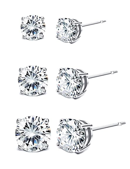 shop for best vast selection 50-70%off Sllaiss 925 Sterling Silver Swarovski Crystal Earrings Sets Stud Earrings  for Women(3 Pairs 4mm 6mm 8mm)