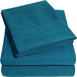 1500 Supreme Collection Extra Soft Split King Sheets Set, Denim - Luxury Bed Sheets Set with Deep Pocket Wrinkle Free Hypoallergenic Bedding, Over 40 Colors, Split King Size, Denim