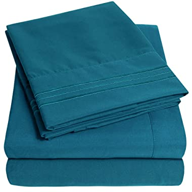 1500 Supreme Collection Extra Soft Queen Sheets Set, Teal - Luxury Bed Sheets Set with Deep Pocket Wrinkle Free Hypoallergenic Bedding, Over 40 Colors, Queen Size, Teal