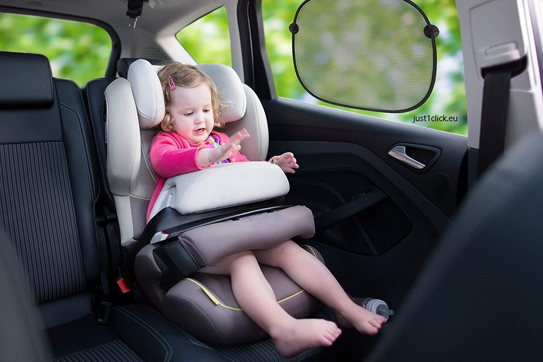Schwarz 2er Set Just1Click Sonnenschutz Auto 2X Sonnenblende f/ür Autofenster mit Saugn/äpfen 44x36 cm UV Schutz f/ür Kinder Baby und Haustiere Faltbar