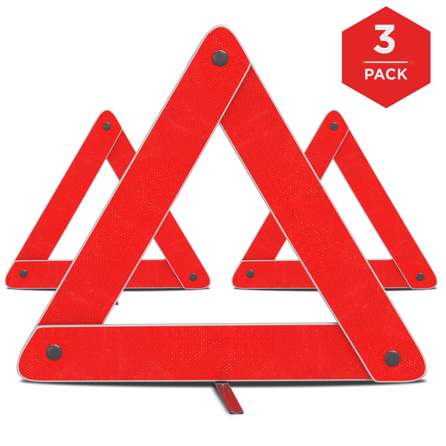 Emergency Warning Triangle by mAuto™, Foldable Reflective Safety Warning Sign, Roadside Hazard Triangle Symbol Warning Sign w/Secure Base, Early Warning Road Safety Triangle 3 Pack