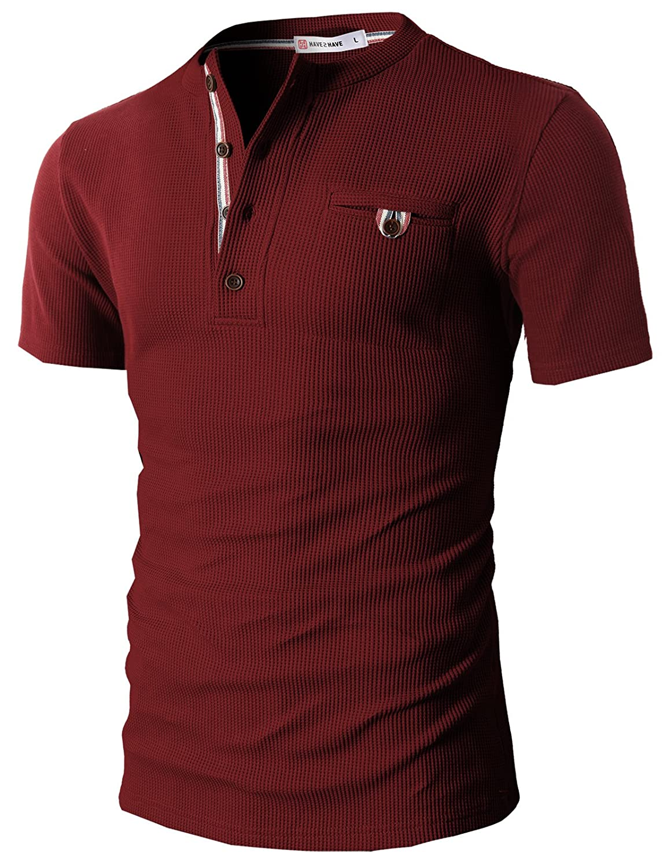 【H2H】 メンズ カジュアル ファッション ワッフル ヘンリー Tシャツ ポケット付き CMTTS0147 B00XMRD5PK S|Cmtts0147-wine Cmtts0147-wine S
