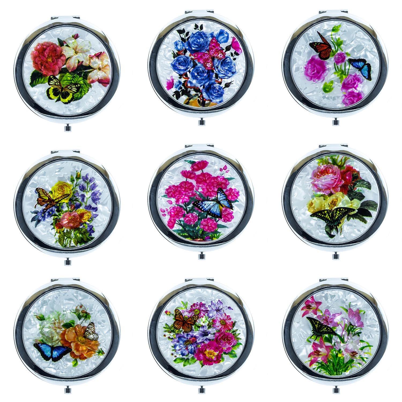 Ladies Premium Cosmetic Compact Mirror Flower Pattern (12 Pack Mix Bundle) (12 Pack)