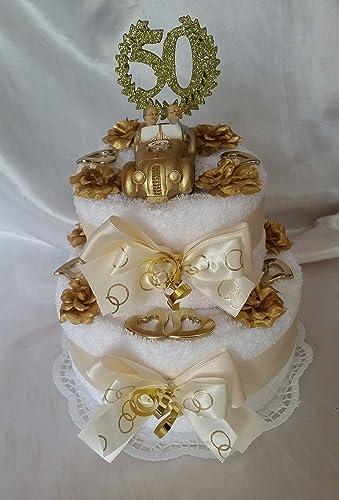 Handtuchtorte Goldene Hochzeit Brautauto