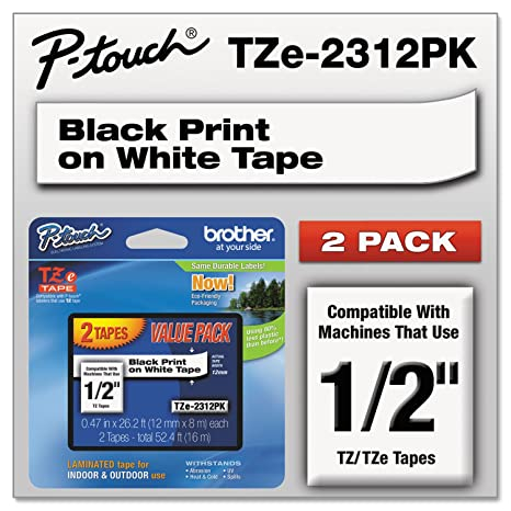 NEW Brother Laminated Black On White Tape 2Pack TZe2312PK 10 PACK FREE SHIPPING
