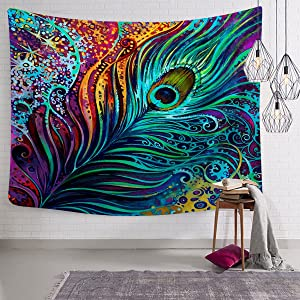 """Sunm boutique Colorful Peacock Feather Tapestry, Abstract Art Wall Tapestry Wall Hanging Psychedelic Tapestries for Wall Decoration (Peacock Feather, 51.2"""" x 59.1"""")"""