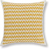 Euphoria Home Decor Cushion Covers Pillows Shell Cotton Linen Blend Yellow Chevron Zigzag Stripes 45cm X 45cm