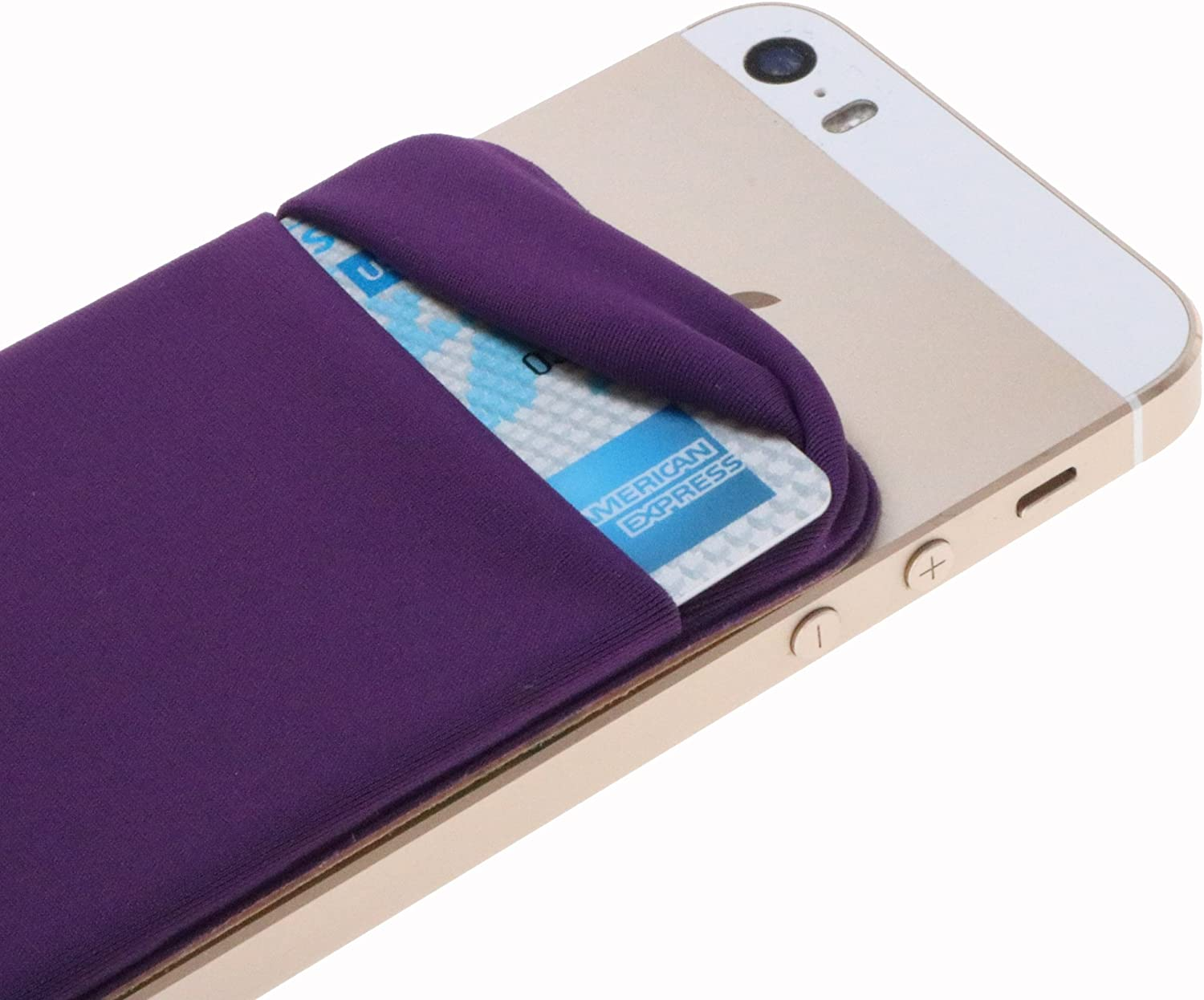 Case Art Plus Credit Card Secure Holder Stick on Wallet [ Lid ] Discreet ID Holder Lycra Spandex Card Sleeves for Smartphones, iPhone 6, Samsung Galaxy Cell Phone Wallet Case 3M Adhesive (Purple)
