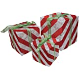Northlight Set of 3 Lighted White and Red Striped Gift Box Outdoor Christmas Decorations