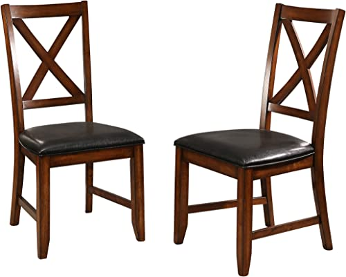 Abbyson Living Set of 2 Upholstered Acacia Wood Dining Side Chair