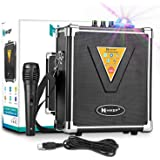 HIKEP Portable Bluetooth Karaoke Machine with USB Disco Lights, Wireless PA Speaker System with Microphone for Kids & Adults Party, Outdoor / Indoor Activities