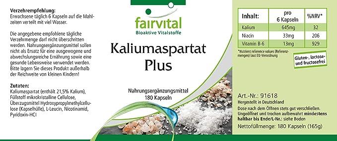 Aspartato de Potasio - VEGANO - Altamente dosificado - 180 Cápsulas ...