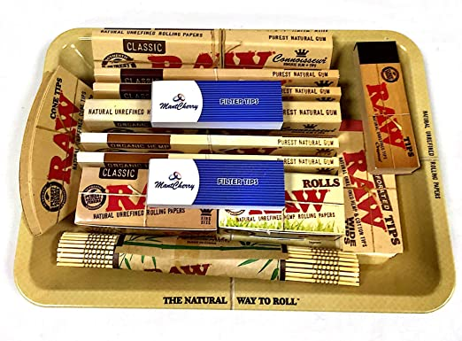 Set RAW de regalo de los años 70 con bandeja de metal para fumador: Amazon.es: Jardín