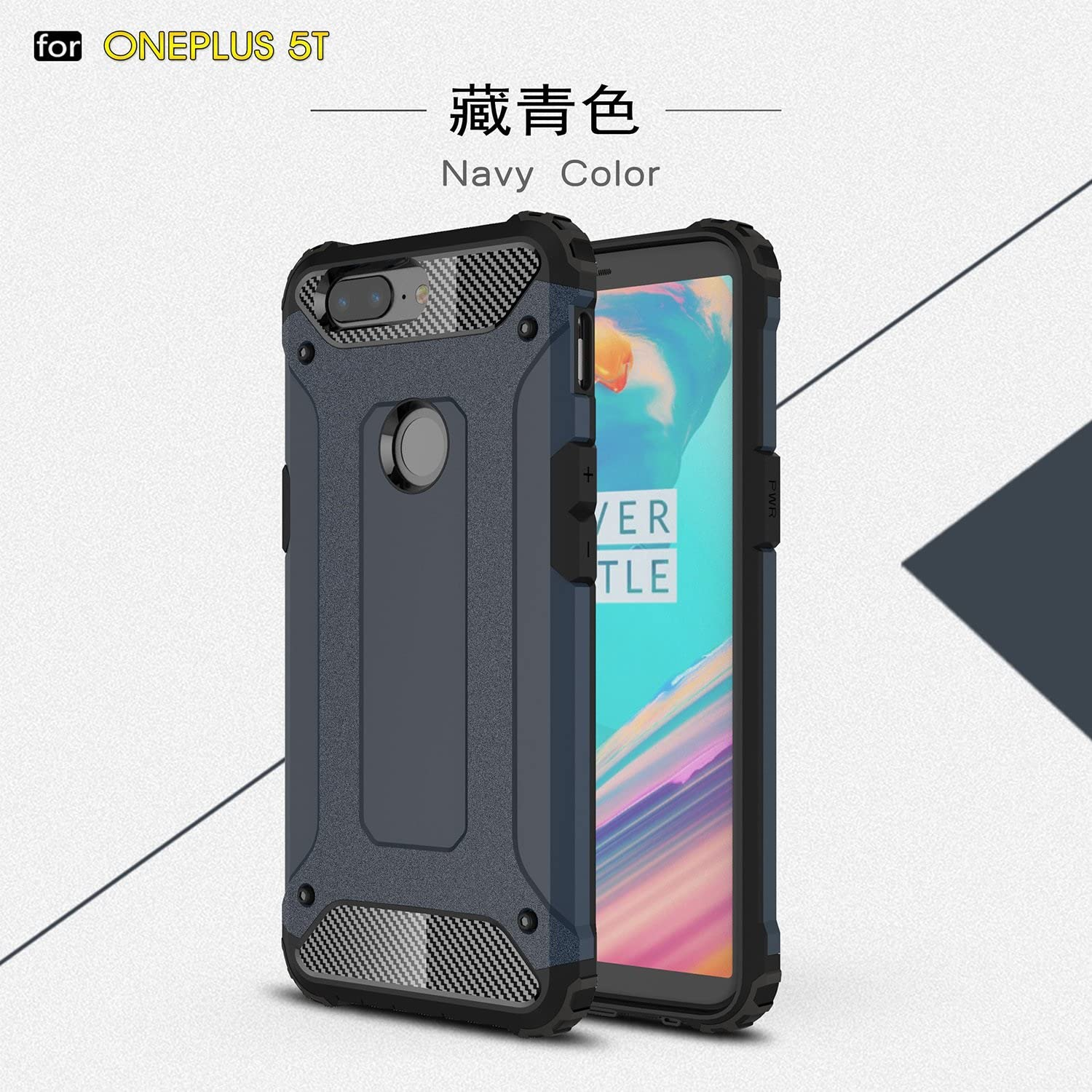 Dual Layer Heavy Duty Hybrid Armour Tough Style Shockproof PC+TPU Protective Hard Case for OnePlus 5T YHUISEN OnePlus 5T case Color : Rose Gold