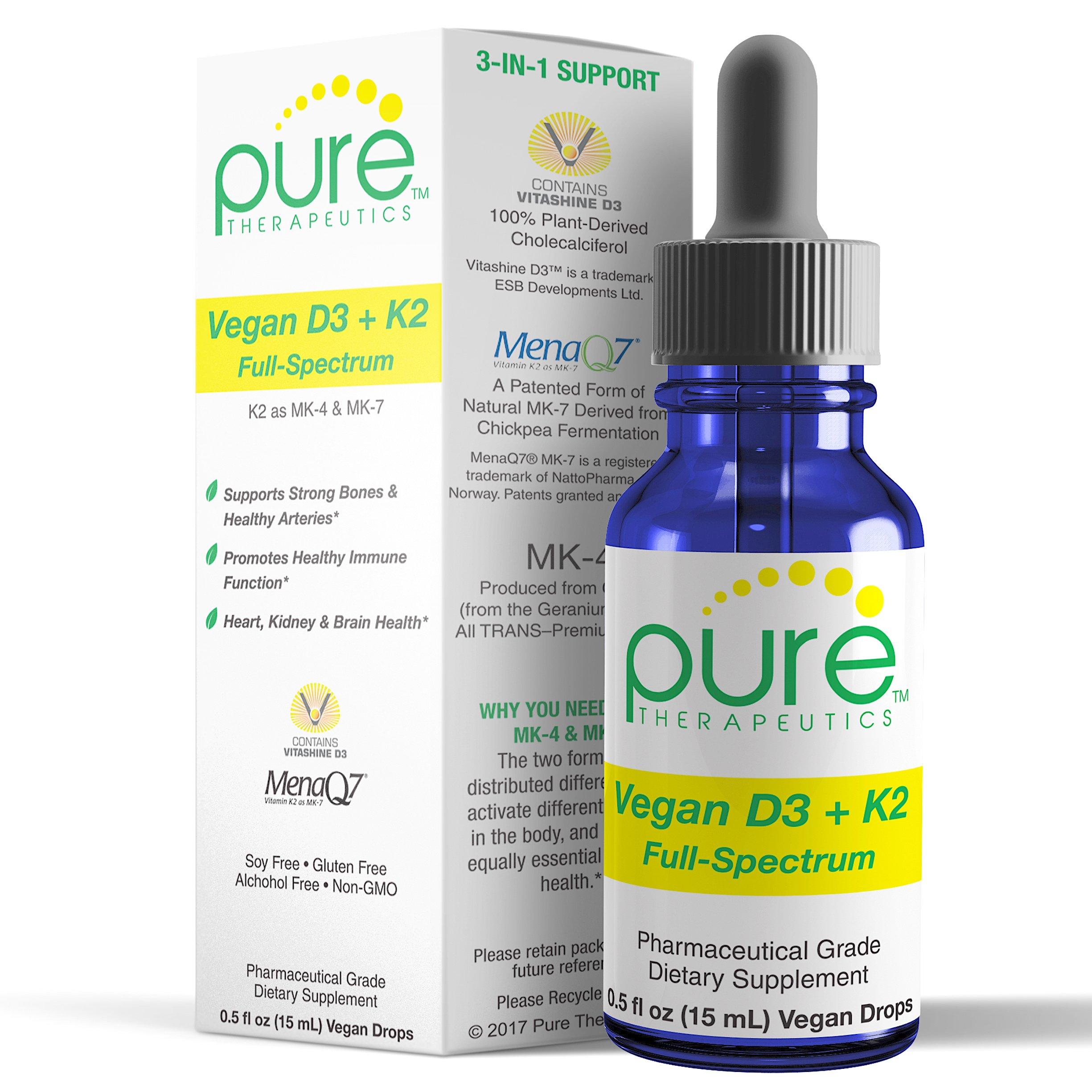 "Vegan D3 + K2 ""Full Spectrum"" Drops for Best Absorption | 5 Drops Contain: 5,000iu vit D3 ""Vitashine""; 500mcg vit K2 (MK4) & 180mcg vit K2 (MK7) ""MenaQ7"" | Soy-Free, GF, Non-GMO, Tasteless & Odorless"