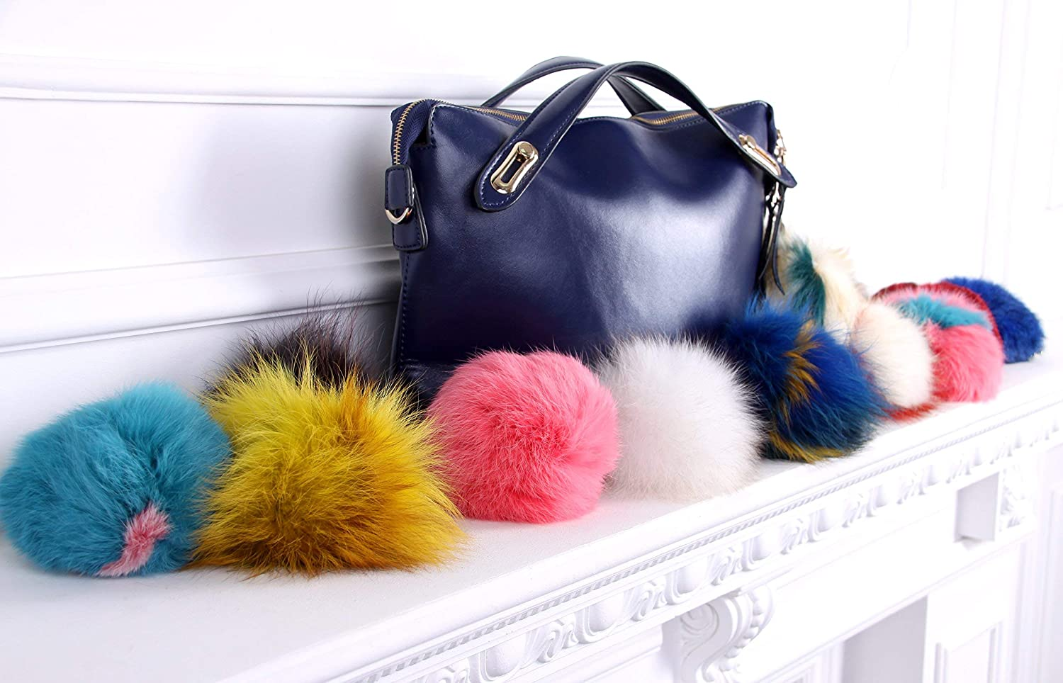 Amazon.com  Real fur Fluffy Ball Pom pom Keychain Handbag Key Ring for Car  Purple Red  Handmade 4e5e27417919a