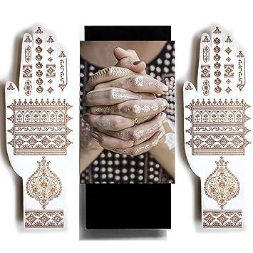 Amazon Com Rose Gold Henna Temporary Tattoos Sexy Jewel Henna