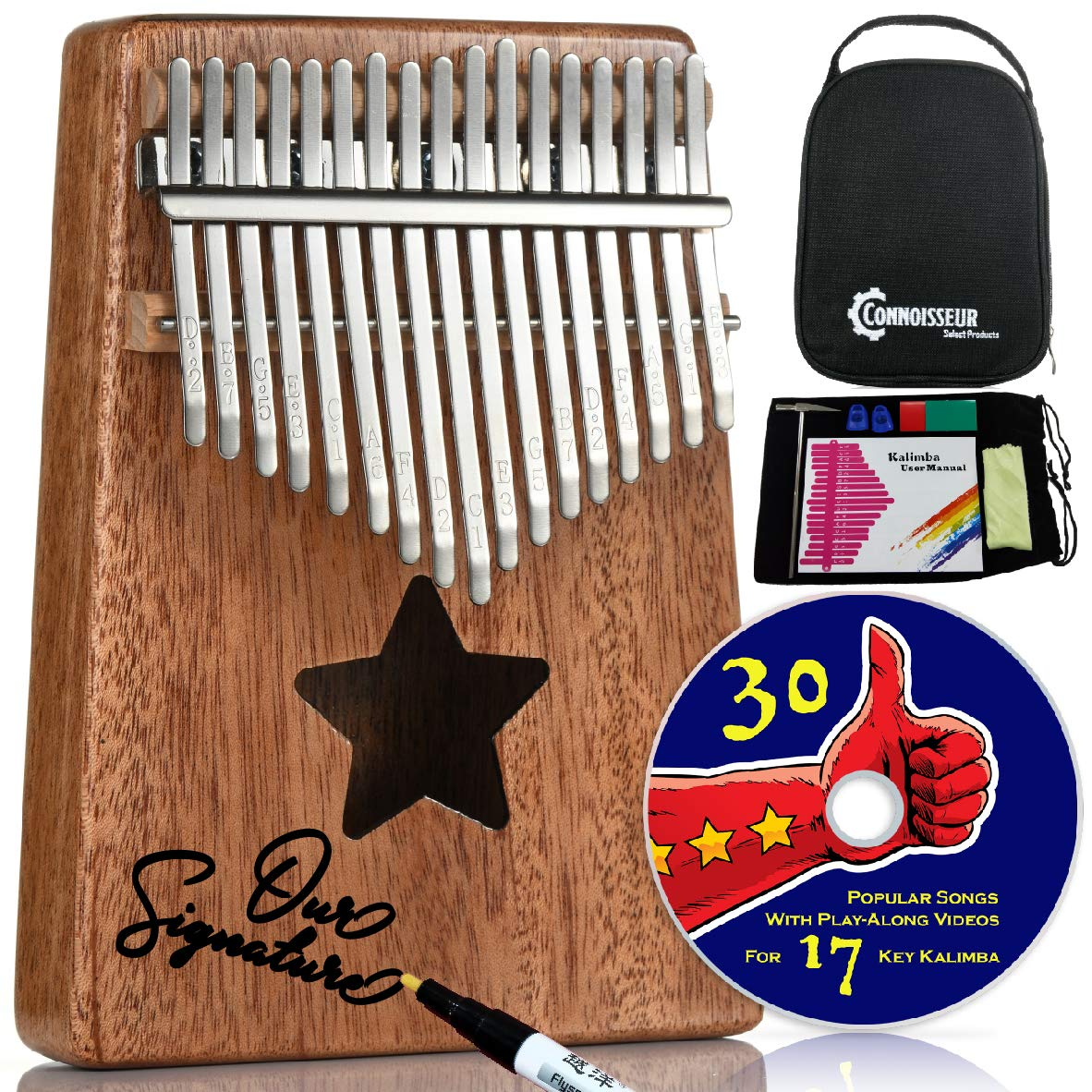 Kalimba 17 Key Thumb Piano - Musical instruments for adults and kids with all accessories, free music e-book and play along videos - Best relaxation gifts by Connoisseur Select Products
