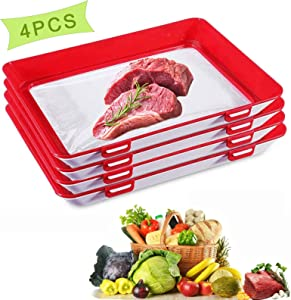 Food Preservation Trays Stackable Reusable Creative Food Storage Container with Elastic Locking Lid for Vegetables Fruit Meat for Kitchen Refrigerator Freezer (Red, 4-PCS)