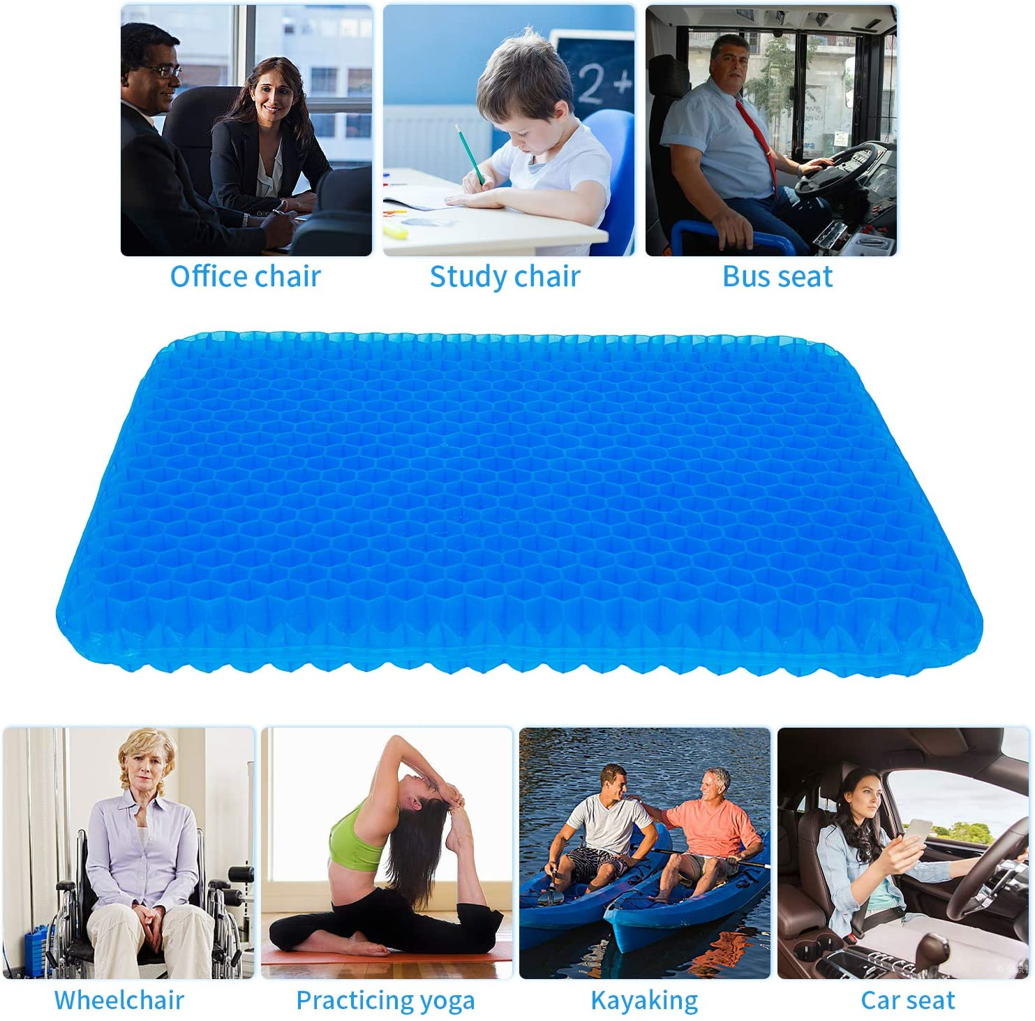 Double Thick Egg Seat Cushion with Non-Slip Cover