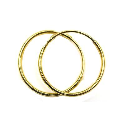Arranview Jewellery Child's 9ct Gold 12mm Diamond Cut Sleeper Hoops (1 Pair) uFxQeh