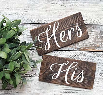 Amazon Com Rfy9u7 Hers His Wooden Wedding Decor Signs Chair Signs