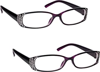 ac06f849ae The Reading Glasses Company Black   Purple Diamonte Style Readers Value 2  Pack Designer Style Womens
