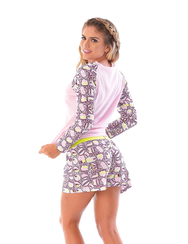 Womens Pajama Shorts & Long Sleeve top SET / 2 Piece PJ Matching Long Sleeve Top and Shorts (Large, 1923, Pink) at Amazon Womens Clothing store: