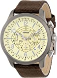 Versus by Versace Men's SGL030013 Soho Round Gun Ion-Plated Stainless Steel Brown Canvas Strap Watch