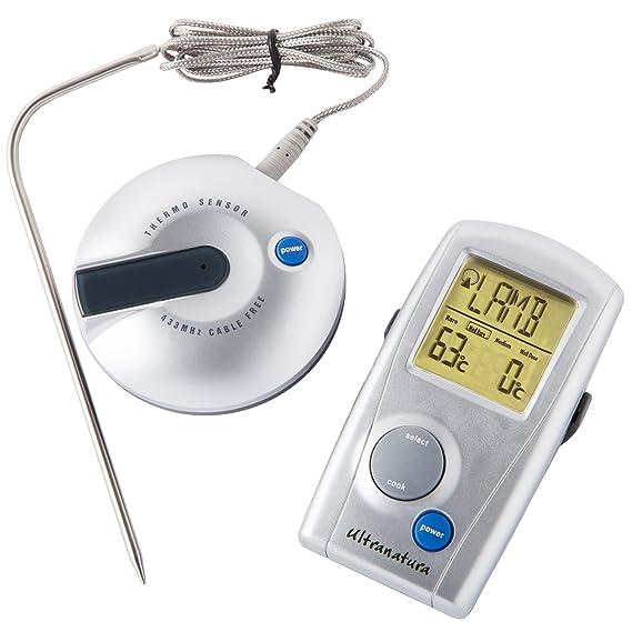 Ultranatura Digital Funk Grillthermometer TM-50, Grill Fleischthermometer mit LED Anzeige, Bratenthermometer zum Fleisch gril