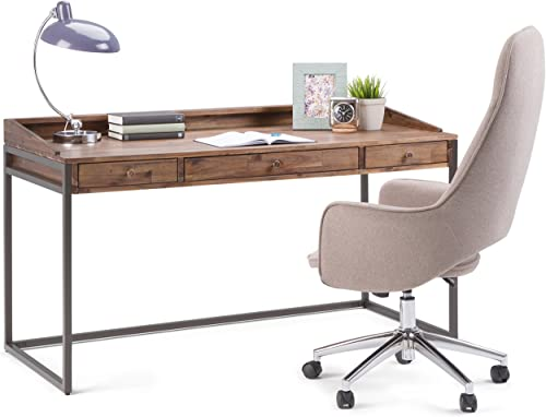 Simpli Home AXCRST-14 Ralston Solid Acacia Wood Modern Industrial 60 inch Wide Writing Office Desk