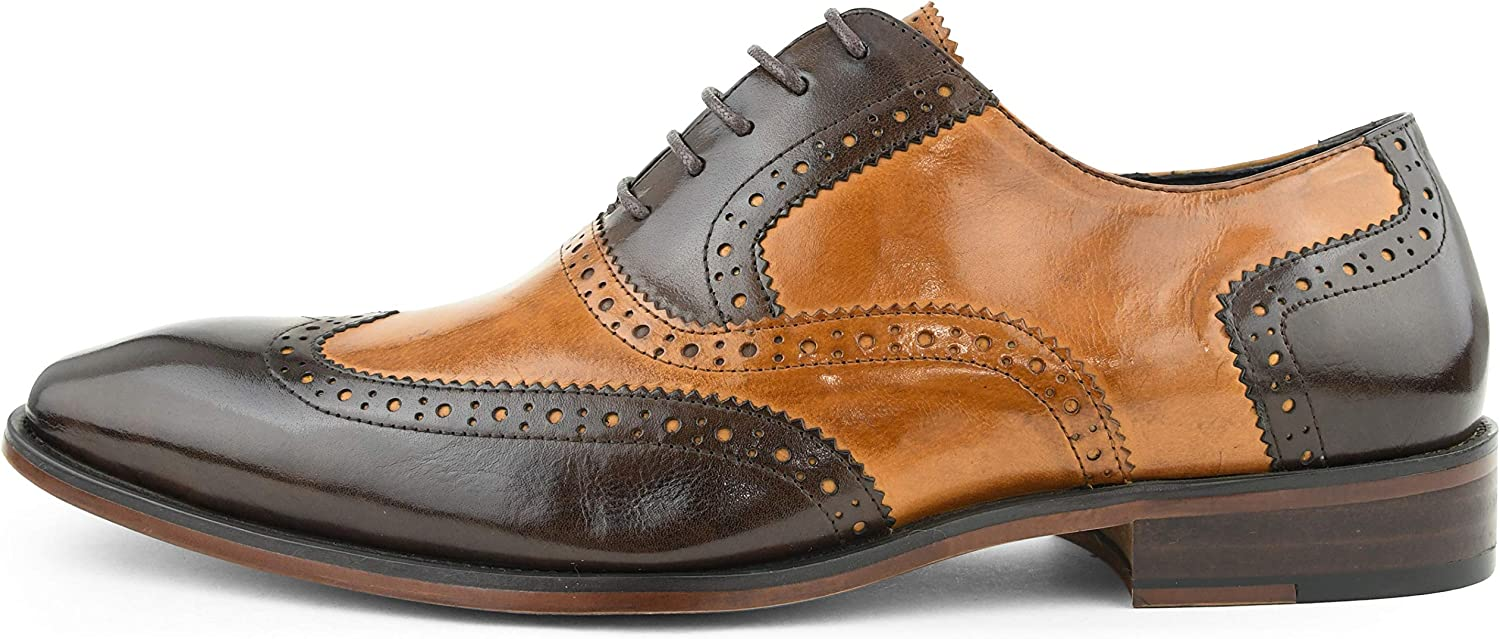 Asher Green Mens Two Tone Black /& Tan Genuine Leather Wingtip AG100-028