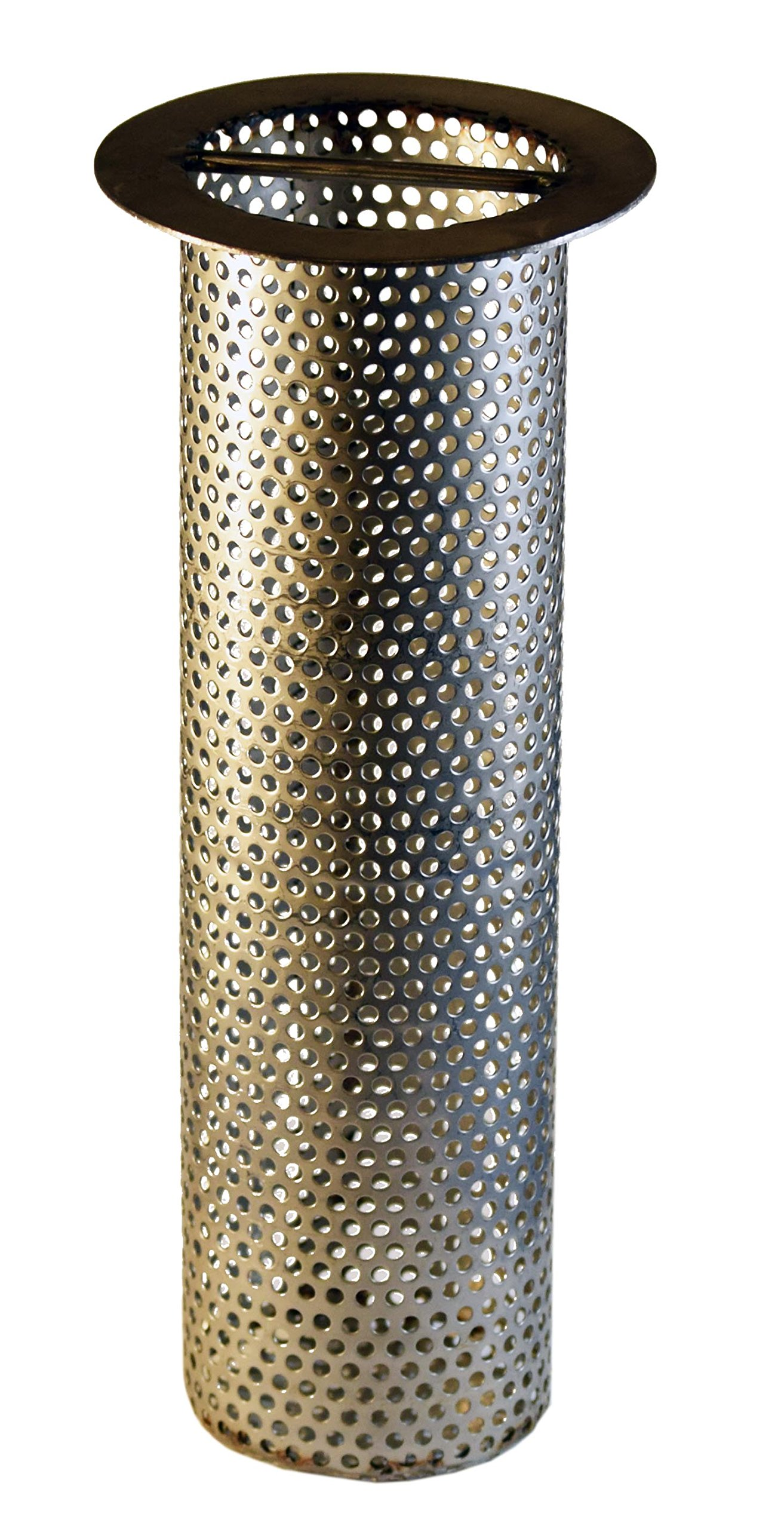 3'' Commercial Floor Drain Strainer, Perforated Stainless Steel, 8'' tall